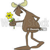 Clipart of a Cartoon Moose Walking Upright and Holding a Flower - Royalty Free Vector Illustration © djart #1419836
