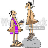 Clipart of a Cartoon Priest Reading a Caveman His Last Rights As He Stand on a Boulder with a Noose Around His Neck - Royalty Free Vector Illustration © djart #1421241