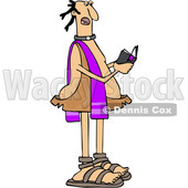 Clipart of a Cartoon Caveman Priest Reading from a Bible - Royalty Free Vector Illustration © djart #1421242