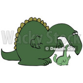 Big Green Dinosaur Bending Down to Listen to a Small Dino Clipart Illustration © djart #14243