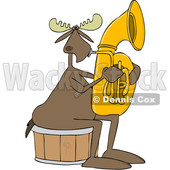 Clipart of a Cartoon Moose Playing a Tuba - Royalty Free Vector Illustration © djart #1425393