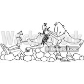 Clipart of a Cartoon Black and White Lineart Cave Woman Holding a Drink, Laying on Boulders Nad Getting Her Hair Done - Royalty Free Vector Illustration © djart #1425411