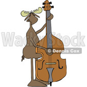 Clipart of a Cartoon Moose Playing and Plucking a Double Bass - Royalty Free Vector Illustration © djart #1425902