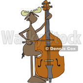 Clipart of a Cartoon Moose Playing a Double Bass with a Bow - Royalty Free Vector Illustration © djart #1425903
