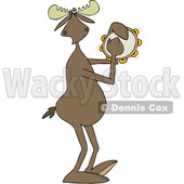 Clipart of a Cartoon Musician Moose Playing a Tambourine - Royalty Free Vector Illustration © djart #1426144