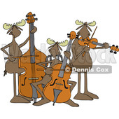 Clipart of a Cartoon Trio of Moose Playing an Upright Bass, Cello and Violin or Viola - Royalty Free Vector Illustration © djart #1426925