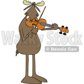 Clipart of a Cartoon Musician Moose Playing a Violin or Viola - Royalty Free Vector Illustration © djart #1426926