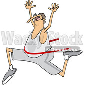 Clipart of a Cartoon Chubby Caucasian Man Running and Breaking Through a Finish Line - Royalty Free Vector Illustration © djart #1427483