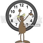 Clipart of a Cartoon Moose Holding His Arms up over a Wall Clock - Royalty Free Vector Illustration © djart #1427809