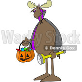 Clipart of a Cartoon Moose Trick or Treating in a Vampire Halloween Costume - Royalty Free Vector Illustration © djart #1427813