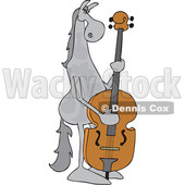 Clipart of a Cartoon Gray Horse Musician Playing a Double Bass - Royalty Free Vector Illustration © djart #1432814