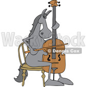 Clipart of a Cartoon Horse Musician Playing a Cello - Royalty Free Vector Illustration © djart #1432818