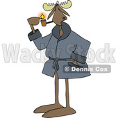 Clipart of a Cartoon Moose in a Robe, Lighting a Pipe - Royalty Free Vector Illustration © djart #1441838