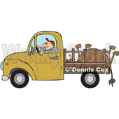Clipart of a Cartoon White Man Driving a Pickup Truck and Hauling a Dead Cow - Royalty Free Vector Illustration © djart #1443263