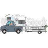 Clipart of a Caucasian Man Driving a Pickup Truck with a Camper and Hauling a Boat - Royalty Free Vector Illustration © djart #1443725