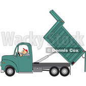 Clipart of a Cartoon Caucasian Man Operating a Hydraulic Dump Truck - Royalty Free Vector Illustration © djart #1443977