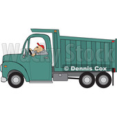 Clipart of a Cartoon Caucasian Man Driving a Dump Truck - Royalty Free Vector Illustration © djart #1443978