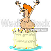Clipart of a Cartoon Nude Ugly White Woman Popping out of a Birthday Cake - Royalty Free Vector Illustration © djart #1444940