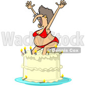 Clipart of a Cartoon Ugly White Woman in a Bikini, Popping out of a Birthday Cake - Royalty Free Vector Illustration © djart #1444943