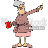 Clipart of a Cartoon Angry Senior Caucasian Woman in Her Robe, Holding Coffee and Flipping the Bird - Royalty Free Vector Illustration © djart #1445102