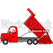 Clipart of a Cartoon Caucasian Man Operating a Red Hydraulic Dump Truck and Dumping Hearts - Royalty Free Vector Illustration © djart #1445104