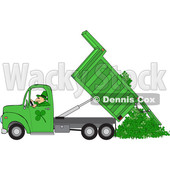 Clipart of a Cartoon Leprechaun Operating a Green Hydraulic Dump Truck and Dumping Clovers - Royalty Free Vector Illustration © djart #1445105