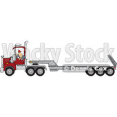 Clipart of a Cartoon White Male Truck Driver Backing up a Semi Tractor and Flat Bed Trailor - Royalty Free Vector Illustration © djart #1446374