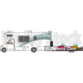 Clipart of a Cartoon White Man Backing up a Class C Motorhome and Towing Snowmobiles - Royalty Free Vector Illustration © djart #1446909