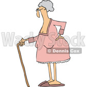 Clipart of a Cartoon Old White Lady Standing with a Cane, Holding Her Back - Royalty Free Vector Illustration © djart #1446914