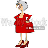 Clipart of a Cartoon Old White Woman Shouting and Standing with Her Hands on Her Hips - Royalty Free Vector Illustration © djart #1448474