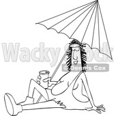 Clipart Graphic of a Cartoon Black and White Happy Cave Woman Holding a Beer Can and Sitting Under a Beach Umbrella - Royalty Free Vector Illustration © djart #1451410