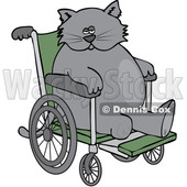 Clipart of a Cartoon Chubby 3 Legged Cat in a Wheelchair - Royalty Free Vector Illustration © djart #1452481