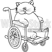Clipart of a Cartoon Black and White Lineart Chubby 3 Legged Cat in a Wheelchair - Royalty Free Vector Illustration © djart #1452482