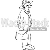 Clipart of a Cartoon Black and White Lineart Hispanic Sales Man Carrying a Case - Royalty Free Vector Illustration © djart #1454116