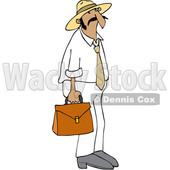 Clipart of a Cartoon Hispanic Sales Man Carrying a Case - Royalty Free Vector Illustration © djart #1454117