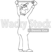 Clipart Graphic of a Cartoon Black and White Lineart Male Worker Using a Tape Measure - Royalty Free Vector Illustration © djart #1454433