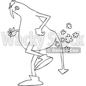 Clipart of a Black and White Chubby Devil Farting - Royalty Free Vector Illustration © djart #1457286