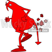 Clipart of a Chubby Red Devil Farting - Royalty Free Vector Illustration © djart #1457290