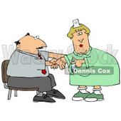 Nervous Businessman Sitting In A Chair And Reaching Out To A Female Nurse While She Prepares A Syringe To Give Him A Flu Shot In The Arm At A Medical Clinic Clipart Illustration © djart #14590