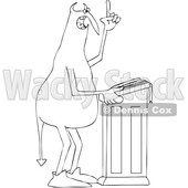 Clipart of a Black and White Chubby Devil Preaching at the Pulpit - Royalty Free Vector Illustration © djart #1459388