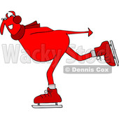Clipart of a Chubby Red Devil Ice Skating - Royalty Free Vector Illustration © djart #1462274