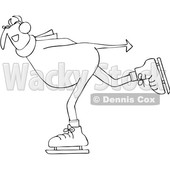 Clipart of a Black and White Chubby Devil Ice Skating - Royalty Free Vector Illustration © djart #1462275
