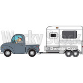 Clipart of a Man Driving a Pickup Truck and Hauling a Horse Trailer - Royalty Free Vector Illustration © djart #1462726