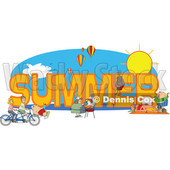 Clipart of People Doing Activities Around the Word SUMMER - Royalty Free Vector Illustration © djart #1466436