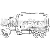 Clipart of a Black and White Worker Backing up a Septic Pumper Truck - Royalty Free Vector Illustration © djart #1476506
