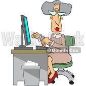 Clipart of a Cartoon Senior White Female Secretary at Her Desk - Royalty Free Vector Illustration © djart #1514031