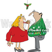 Clipart of a Cartoon Couple Under Holly, False Mistletoe - Royalty Free Vector Illustration © djart #1514849