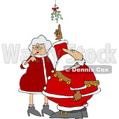 Clipart of a Cartoon Christmas Santa Claus and the Mrs Under the Mistletoe - Royalty Free Vector Illustration © djart #1516054