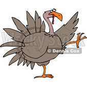 Clipart of a Cartoon Turkey Bird Doing a High Strut - Royalty Free Vector Illustration © djart #1517198