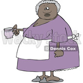 Clipart of a Black Woman Holding a Cup of Tea - Royalty Free Vector Illustration © djart #1522414